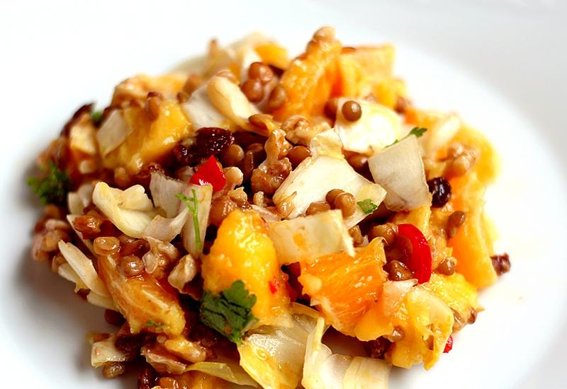 Recept pittige witlofsalade met mango en sinaasappel