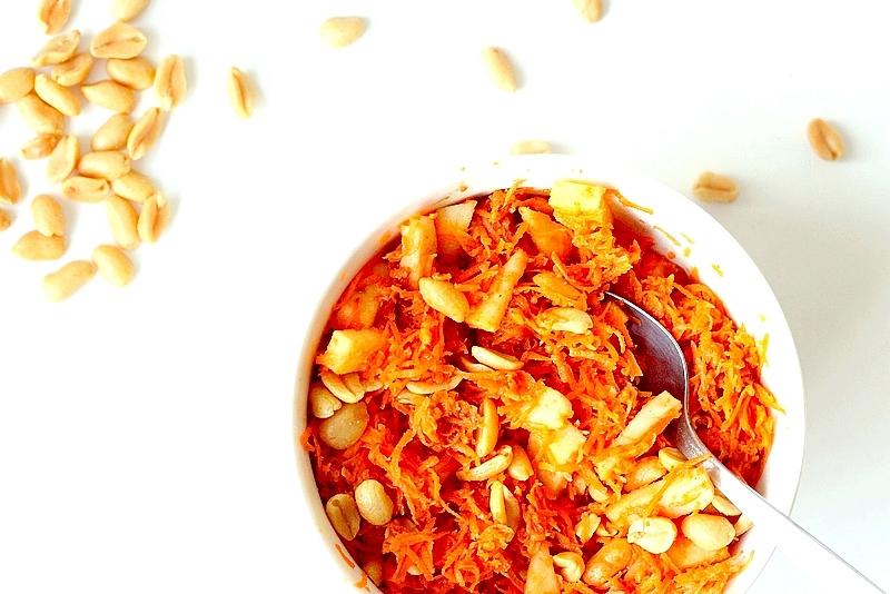 Recept vegan wortel-pindasalade met appel