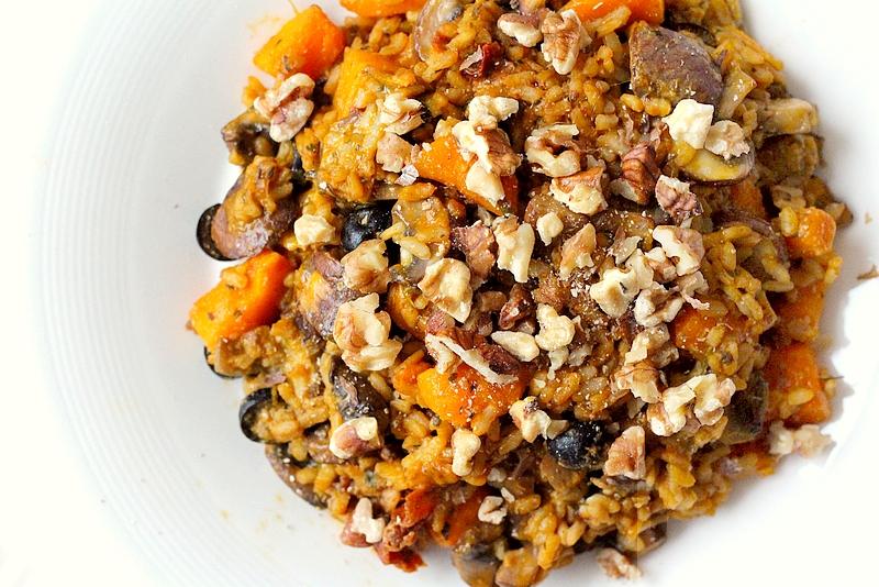 Recept vegan risotto met kastanjechampignons en pompoen 1