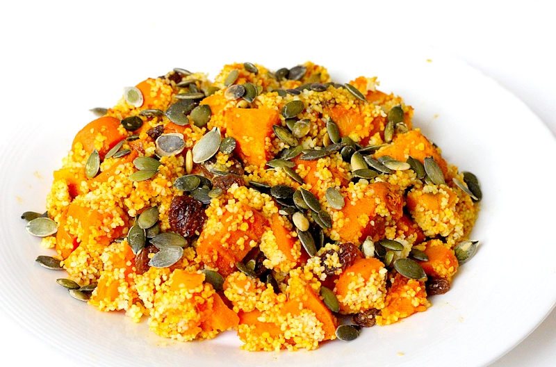 Recept vegan pompoencouscous met zoete aardappel en wortel
