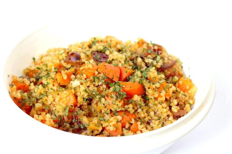 Recept vegan snelle bulgur met wortel en dadels