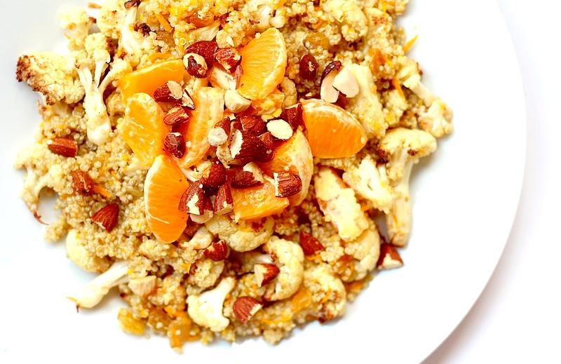 Recept sinaasappelquinoa met bloemkool vegan