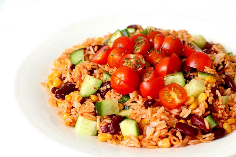 Recept vegan Mexicaanse rijstsalade met kidneybonen